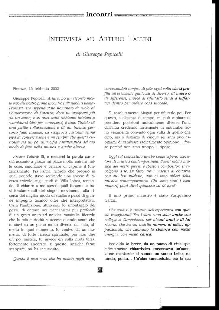 Intervista ad Arturo Tallini 1